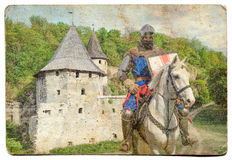 Armored knight on warhorse - retro postcard Royalty Free Stock Photos