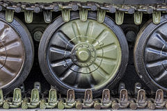 Armored Military Tank Detail. Army Colors Caterpillar. Royalty Free Stock Photos