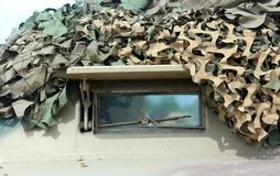 Armored military truck with camouflage gear for war missions Royalty Free Stock Photos