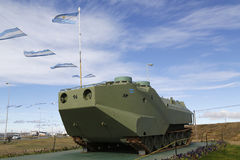 Armored military vehicle at the monument to fallen soldiers of Falklands  or Malvinas war in Rio Grande, Argentina Stock Photos