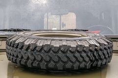 Armored military vehicle with spare tire in Prague Royalty Free Stock Images