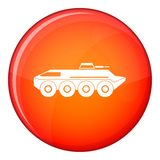 Armored personnel carrier icon, flat style Stock Photography