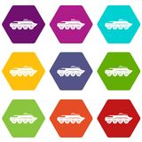 Armored personnel carrier icon set color hexahedron Stock Image