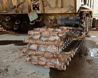 Armored personnel carrier after a mine explosion Royalty Free Stock Image