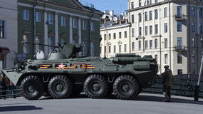 Armored personnel carrier in Saint Petersburg. An armored personnel carrier on a bridge in Saint Petersburg, Russia Royalty Free Stock Image