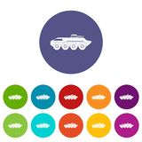 Armored personnel carrier set icons Stock Photography