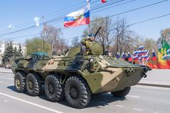 Armored personnel transporter with commander Stock Images