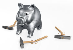 Armored piggy bank resists to hammers Royalty Free Stock Photos
