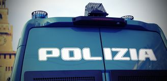 Armored police van to patrol Stock Photos