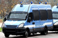 Armored police van transporting money Royalty Free Stock Images