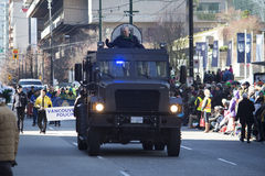 Armored police vehicle at st. patrick's day parade Stock Images