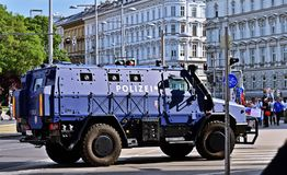 Armored police vehicle in Vienna. Security measures at the visit of Vladimir Putin, President of the Russian Federation in Vienna, Austria Stock Image