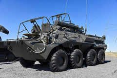 Armored radio communication network. Armored personnel carrier BTR-80, Kadamovskiy polygon, Russia, September 11, 2016. Forum `Army-2016`. Entry and shooting royalty free stock photos