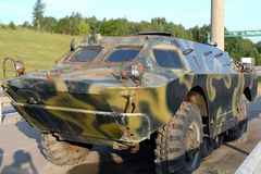 Armored reconnaissance and sentinel machine on the highway. MOSCOW REGION, RUSSIA - AUGUST 3,2017: Armored reconnaissance and sentinel machine on the highway stock images