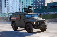 The armored Tigr-M car equipped with the latest fighting module with remote control BMDU `Arbalet-DM`. Moscow. Russia. May 3, 2017. The Victory Day parade stock photos