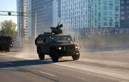 The armored Tigr-M car equipped with the latest fighting module with remote control BMDU `Arbalet-DM`. Moscow. Russia. May 3, 2017. The Victory Day parade stock photo