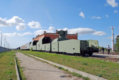 Armored train with the antiaircraft emplacement. Exhibit of the technical museum of Sakharov. Togliatti. Russia. Armored train with the antiaircraft emplacement Royalty Free Stock Photo