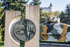 Armored train Hurban with sculpture and castle in Zvolen, Slovak Royalty Free Stock Images