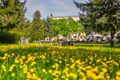Armored train in Zvolen with dandelion flowers. Armored train in Zvolen, in front of Zvolen castle during summer with dandelion flowers, Europe, Slovakia royalty free stock photo