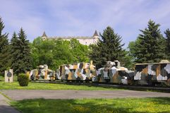 Armored train in Zvolen. In front of Zvolen castle during summer, Europe, Slovakia royalty free stock photography