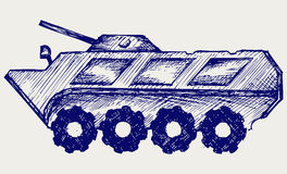 Armored troop-carrier. Doodle style. Sketch vector Stock Photo