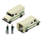 Armored Truck Set Isometric View. Vector. Armored Truck Set and Uniform Person Isometric View Encashment Bank Security Finance Service. Vector illustration Stock Photo