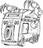 Armored Truck Vehicle Sketch Royalty Free Stock Photo