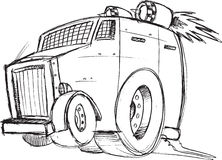 Armored Truck Vehicle Sketch Stock Images