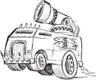 Armored Truck Vehicle Sketch Stock Image