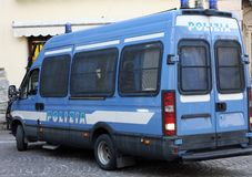 Armored van of the Italian police involved in a checkpoint in a Stock Photo