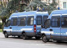 Armored vans of the Italian police during the sporting event Stock Photo