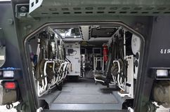 Armored vehicle Pandur. Interior of armored vehicle Pandur Royalty Free Stock Photos