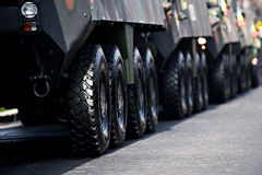 Armored vehicle wheels detail Stock Photos