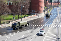 Armored vehicles with howitzers near the Kremlin wall Royalty Free Stock Photos