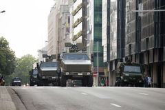 Armored vehicles during the military parade on the Belgium National Day Stock Image