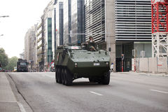 Armored vehicles during the military parade on the Belgium National Day Stock Photos
