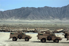 Armored Vehicles Ready for Issue in Afghanistan Stock Photo