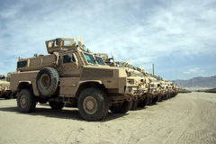 Armored Vehicles Ready for Issue in Afghanistan Stock Photos