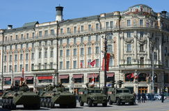 Armored vehicles in rehearsal celebration of the Victory Parade in Moscow. Stock Photos