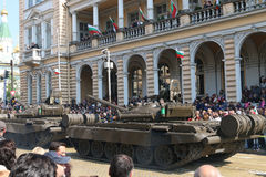 Armored vehicles tracked tanks T72 on military hardware parade. Stock Photos