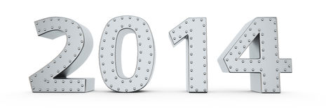 Armored year 2014. Metallic digits of new year 2014 with rivets Royalty Free Stock Photo