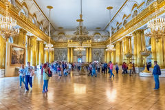 Armorial Hall, Winter Palace, Hermitage Museum, St. Petersburg,. ST. PETERSBURG, RUSSIA - AUGUST 27: Armorial Hall, interior of the State Hermitage (Winter Stock Photography