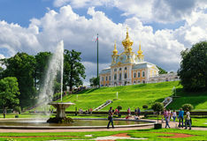 Armorial housing of Grand Palace in Peterhof stock images