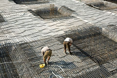 Armoring at the building site to stabilize the fundament made of Royalty Free Stock Photography