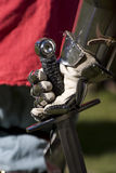Armory At Hand. Knight Clutching A Sword In The Grips Of Daylight Battle Stock Photography