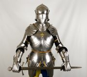 Armour. Of the medieval knight. Metal protection of the soldier against the weapon of the opponent royalty free stock images