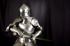 Armour. Of the medieval knight. Metal protection of the soldier against the weapon of the opponent stock photography