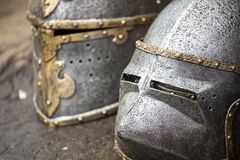 Armour of the medieval knight. Metal protection of the soldier against the weapon of the opponent Stock Photos