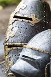 Armour of the medieval knight. Metal protection of the soldier against the weapon of the opponent Royalty Free Stock Photos