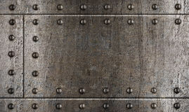 Armour metal background with rivets. Metal sheets background with rivets like old battleship armour royalty free stock image